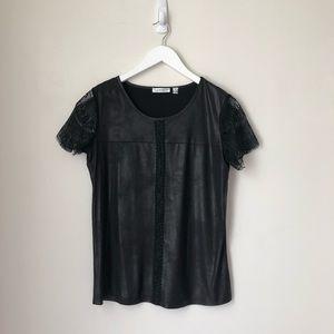 Black Lace Sheen Top
